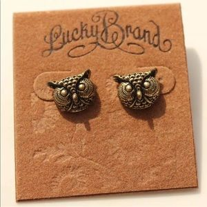 """Lucky Brand 1/2"""" Owl post earrings antique look"""